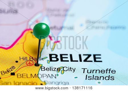 Belize City pinned on a map of Belize
