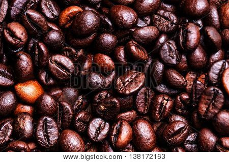 Roasted coffee beans as a background. Coffee bean