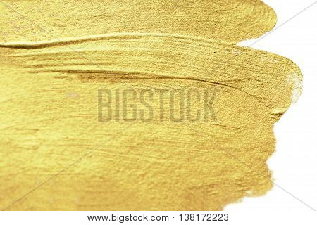Gold Abstract hand painted golden stain background. Watercolor Metallic Paint Texture. Hand drawn brush stroke design element.