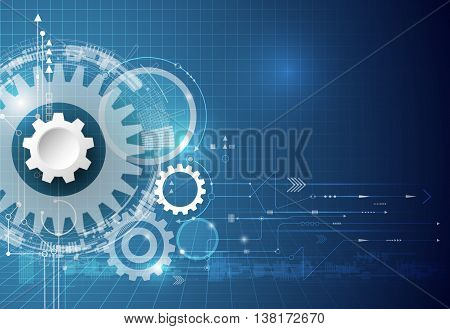 Vector technology background. illustration gear wheel hexagons and circuit board. Hi-tech technology engineering digital telecom technology concept. Abstract futuristic on dark blue color background