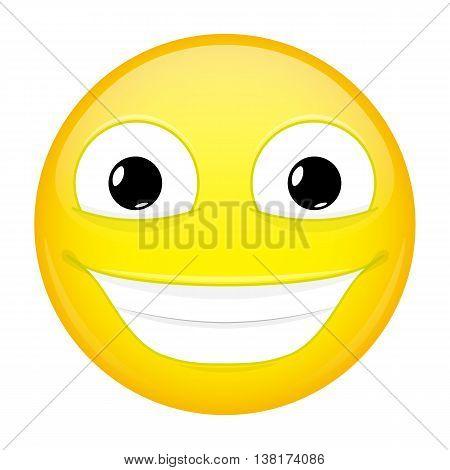 Broadly smiling emoji. Good emotion. Happy emoticon. Vector illustration smile icon.