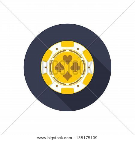 Poker Chips. Vector illustration in flat style with long shadows, Poker Chips icon. Gold Poker Chips. Symbol of Poker.