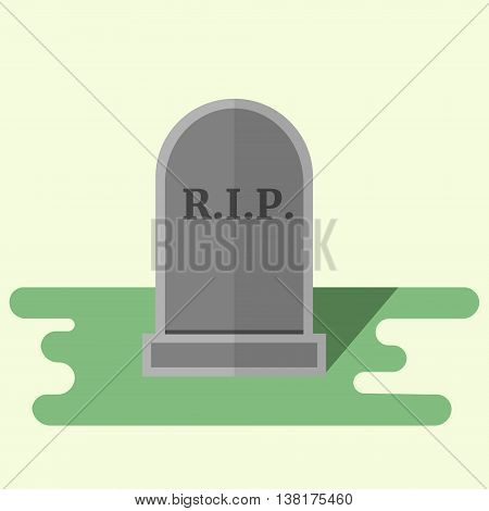 Vector flat style illustration gravestone with text R.I.P Tombstone icon.