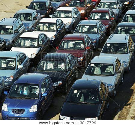 Many cars on the street