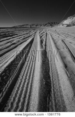 Vertical true infrared image of tire tracks on a beach (Point Dume in Malibu). poster