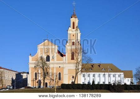 GRODNO, BELARUS - MARCH 24 2016: Bernardine Church and Monastery in Baroque style in Grodno front view. Belarus.