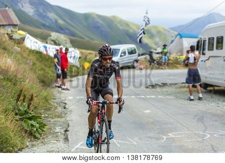 Col de la Croix de Fer France - 25 July 2015:The Portuguese cyclist Jose Joao Pimenta Costa Mendes of Bora-Argon 18 Team climbing to the Col de la Croix de Fer in Alps during the stage 20 of Le Tour de France 2015.
