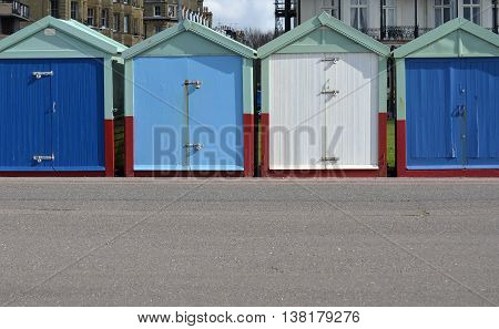 Colorful Wooden Beach Huts in Brighton and Hove, England