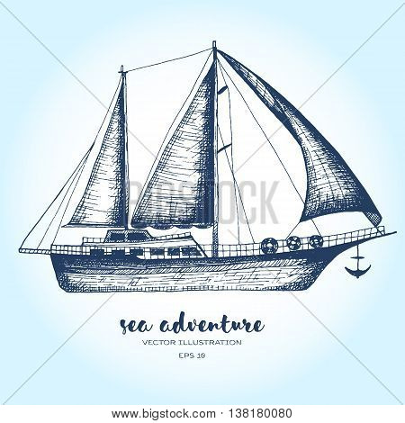 Ship vector design template. sailboat or frigate icon