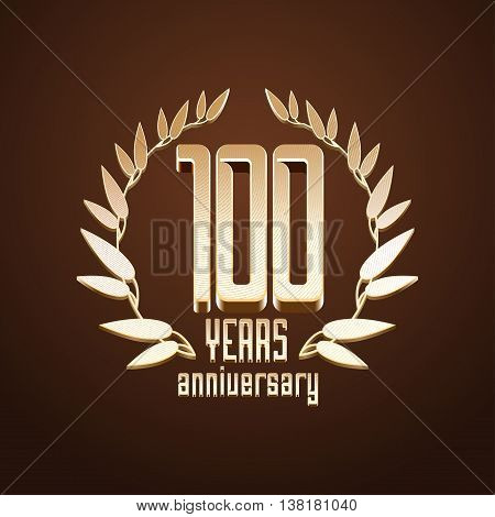 100 years anniversary vector logo. 100th birthday age classic decoration design element sign emblem symbol with gold branch