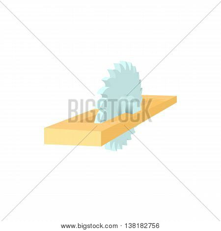 Metal blade of circular saw in a plank icon in cartoon style on a white background