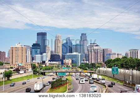 MINNEAPOLIS MN USA - JUNE 30 2016: Downtown Minneapolis Minnesota Skyline and Interstate Highway 35W