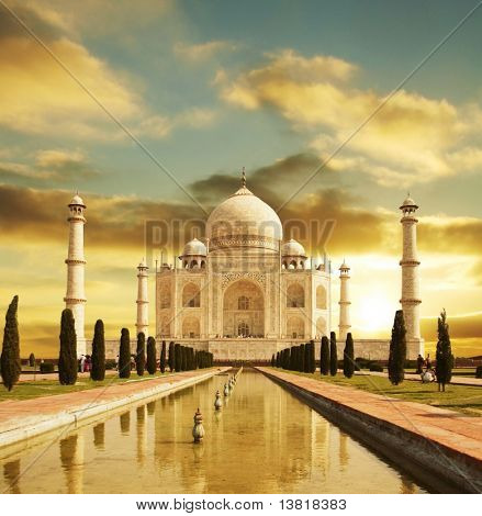 Taj Mahal Palace in Indien am Sonnenaufgang