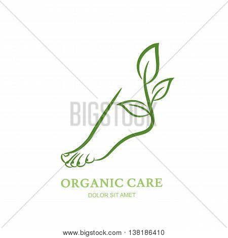 Womens foot with green plant and leaves. Vector logo, label, emblem design elements. Abstract concept for beauty salon, pedicure, cosmetic, organic care and spa. Female elegant leg silhouette.