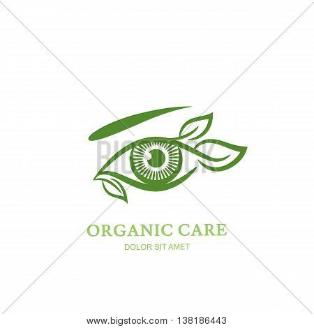 Vector line illustration of human eye with green leaves. Abstract logo, label or emblem design element. Concept for optical, glasses shop, oculist, ophthalmology, makeup. Natural organic eye care.