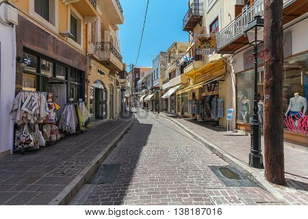 GREECE, ISLAND CRETE, RETHYMNON  - JULY 01, 2016:The shop on the street of the old town's part of city Rethymnon. Rethymnon is an old historic town on the northern coast of the island Crete.