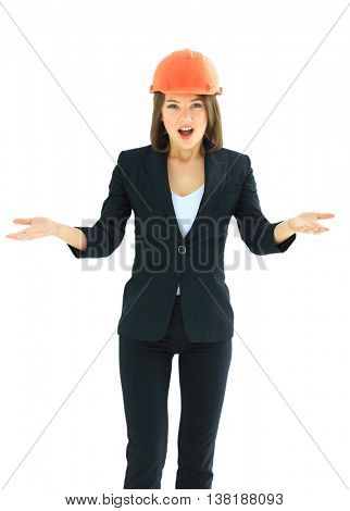 Emotionak contractor woman. Isolated on white background.