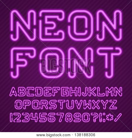 Neon Light Alphabet Vector Font. Type letters, numbers and punctuation marks. Neon tube letters on background. Glowing Neon Bar Alphabet. Realistic neon alphabet.