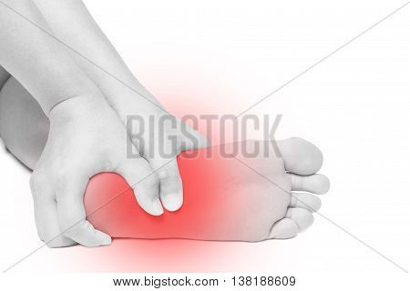 Acute pain in foot. hand massage foot isolated white background
