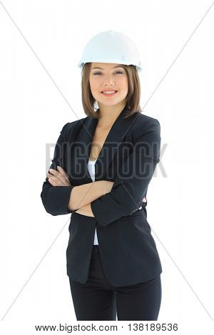 Smiling young architect isolated over a white background