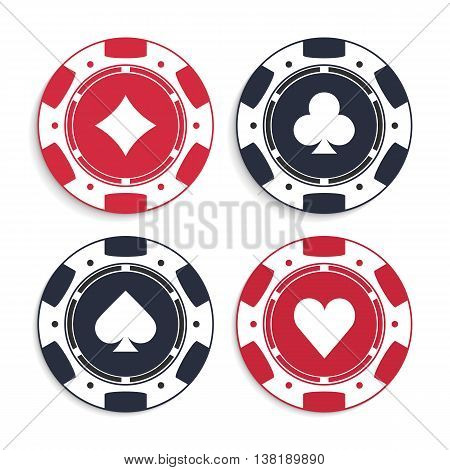 Poker chips set. Illustration of casino chips on white background.
