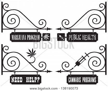 Street vintage signage for public health centers. Drug addiction.