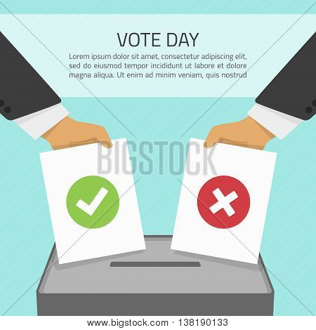 Vector illustration voting concept - hand putting voting paper in the ballot box. Hand casting a vote. Vote ballot in hand with box in flat style. Infographics concept vote pros and cons. poster