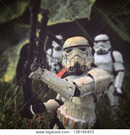 Hasbro Star Wars the Black Series Stormtrooper action figures recreate a scene marching through a rainy swamp