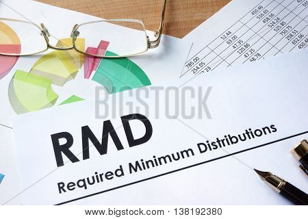 Paper with words RMD required minimum distributions poster