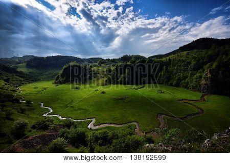 mountain landscape in summer morning - Fundatura Ponorului, Romania