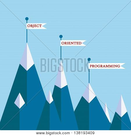 Object-oriented programming mountain concept. Vector illustration on computer coding software development motivational poster banner on programming theme