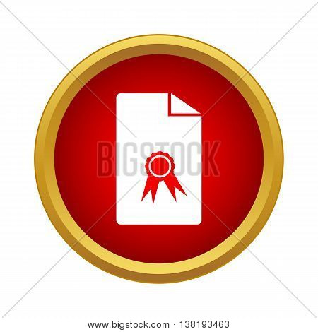 Charter icon in simple style in red circle