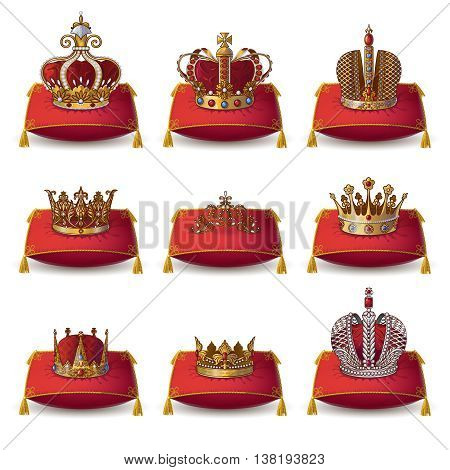 Crowns of kings and queen collection on red pillows with yellow tassels isolated vector illustation