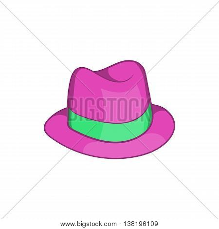 Gentlemans hat icon in cartoon style isolated on white background. Headdress symbol