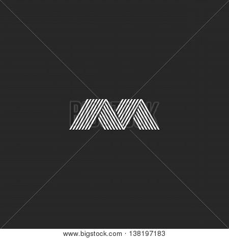 M Logo Simple Monogram Letter, Stylish Mockup Business Card Initial, Technology Trendy Emblem