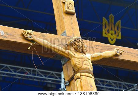 Crucifixion of Ukraine.Burned downtown of Kiev.Rioters camp. Kiev under occupation of catholic peasants from Western Ukraine during Revolution of Dignity..April 19, 2014 Kiev, Ukraine