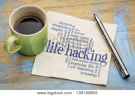 life hacking word cloud - handwriting on a napkin with cup of tea