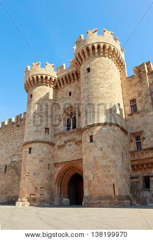 Front gate of the Grand Master of the Knights of Rhodes, a medieval castle of the Hospitaller Knights on the island of Rhodes, Greece.