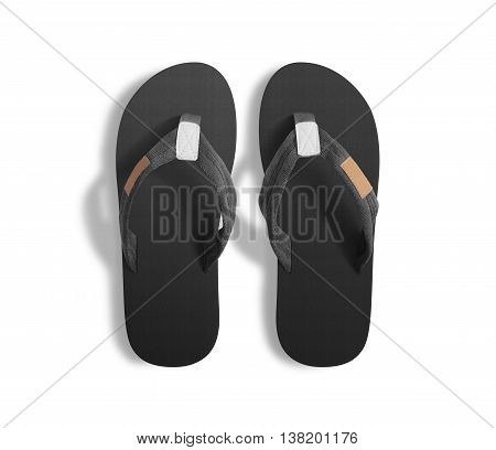 Pair of blank grey slippers, design mock up, clipping path. Home plain gray flops mock up template top view. Clear black bath sandal display. Bed shoes accessory footwear. Rubber beach flip-flops.