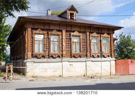 The old wooden house. Yelets Lipetsk region Russia.