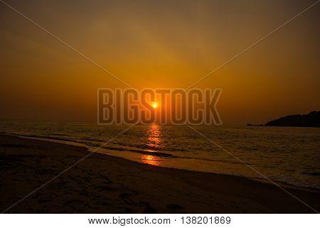 Sunset On The Sea. Goa State, India.