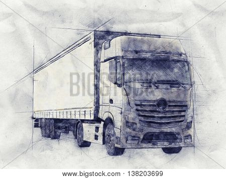 Pencil sketch of a long distance transport or haulage truck on textured crumpled grey paper in a front side view