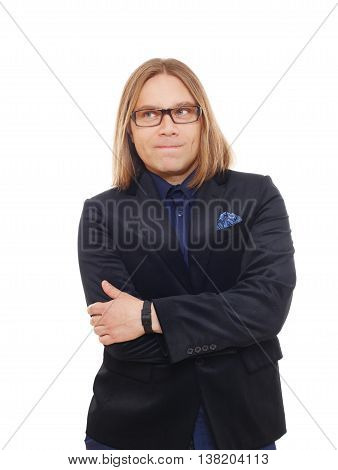 Long haired man isolated at white. Portrait of stylish sly guy cunningly scheming something. Trendy middle-aged person in glasses and blue suit. Modern businessman.