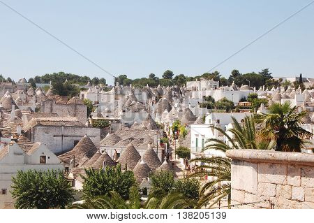 A view of the town of Alberobello with its famous Trulli in Apulia - Italy