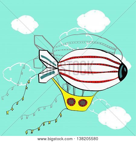 Colored cartoon dirigible in the sky. White clouds on blue field.