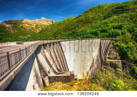 Dam of Contra Verzasca Ticino Switzerland. The dam creates a water reservoir Lago di Vogorno. It is famous place for bungee jumping and place where some scenes of James Bond movie was taken place.