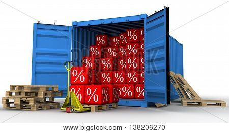 Discounts. Unloading cargo container filled with red cubes with the percent symbol. The concept of a large sell-off. Isolated. 3D Illustration