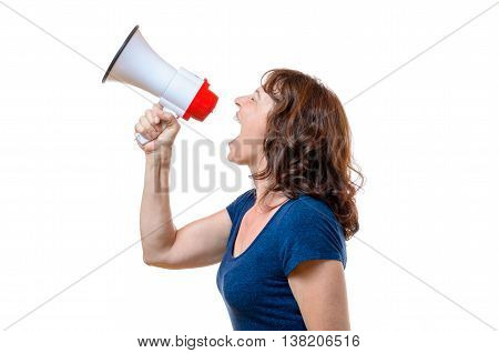Middle-aged Woman Yelling Into A Megaphone