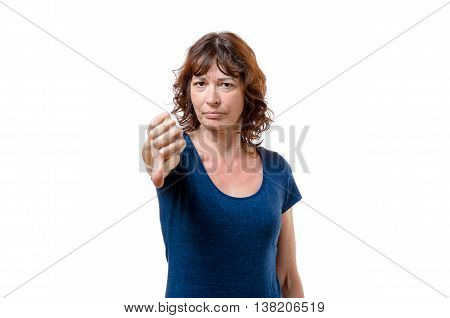 Unimpressed Woman Giving A Negative Vote