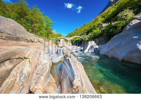 Double Arch Stone Bridge At Ponte Dei Salti With Waterfall, Lavertezzo, Verzascatal, Canton Tessin.